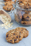 Flourless gluten free peanut butter, oatmeal and chocolate chips cookies in glass jar on table, vertical. Flourless gluten free peanut butter, oatmeal and Royalty Free Stock Photos