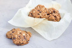 Flourless gluten free peanut butter, oatmeal and chocolate chips cookies, horizontal Stock Photos