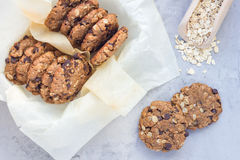 Flourless gluten free peanut butter, oatmeal and chocolate chips cookies, horizontal Stock Photography