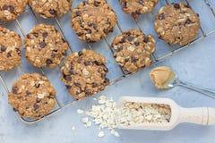 Flourless glutenu bezpłatny masło orzechowe, oatmeal i czekoladowi układy scaleni, fotografia royalty free