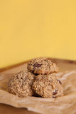Flourless Oatmeal Cookies. Oatmeal Cookies with a colorful yellow backdrop Royalty Free Stock Photos