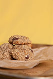 Flourless Oatmeal Cookies. Oatmeal Cookies with a colorful yellow backdrop Stock Photos