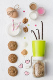 Flourless Walnut Cookies and Milk. On a White Background Royalty Free Stock Images