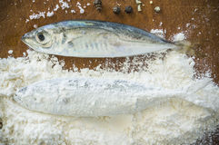 Floury fish on a wooden background Stock Photo