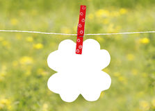 Flover note on a rope Royalty Free Stock Photography