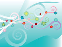 Flover Pattern. Vector fantastic flovers on sea-green Stock Images