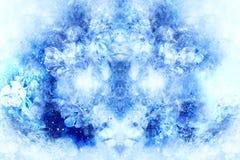 Flovers freezed unter Eis, abstrakte Computercollage, Wintermotiv Lizenzfreie Stockfotografie