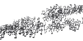 The flow of black musical notes Stock Images