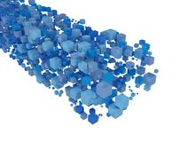 Flow of blue 3d cubes. Isolated on white background. 3d render Royalty Free Stock Photography