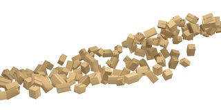 The flow from the cardboard boxes Royalty Free Stock Photography