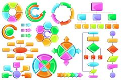 Flow Chart. Vector illustration of empty flow chart diagram with colorful block Stock Images