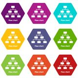 Flow chart icons set 9 vector. Flow chart icons 9 set coloful isolated on white for web Royalty Free Stock Photography