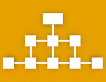 Flow Chart on an Orange Background. 3d Render of a Flow Chart on an Orange Background Stock Image