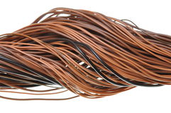 Flow of data in global computer network. Brown wires isolated on white background Stock Photo