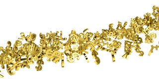 The flow of gold currency symbols. Isolated 3d rendering stock illustration