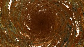 Flow of gold liquid spins into a whirlpool or a tornado. The flow of metal liquid rotates and forms a tornado in slow. Flow of metalliquid spins into a whirlpool stock footage