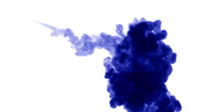A flow of isolated blue ink inject. Blue colour dissolves in water, shot in slow motion. Use for inky background stock video footage