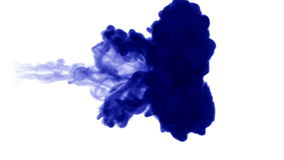A flow of isolated blue ink inject. Blue pigment dissolves in water, shot in slow motion. Use for inky background stock footage