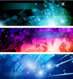 Flow of lights header backgrounds Stock Images