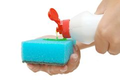 Flow out of the gel for ware washing Stock Photos