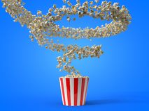 Flow of popcorn filling a bucket. 3d illustration. For cinema, entertainment and fast food themes Royalty Free Stock Photos