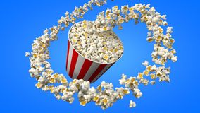 Flow of popcorn filling a bucket. 3d illustration. For cinema, entertainment and fast food themes Stock Images