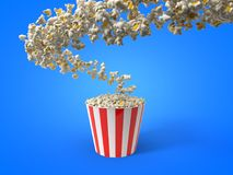 Flow of popcorn filling a bucket. 3d illustration. For cinema, entertainment and fast food themes Royalty Free Stock Photography