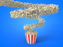 Flow of popcorn filling a bucket. 3d illustration. For cinema, entertainment and fast food themes Royalty Free Stock Image