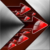Flow Red Arrows Background. Metal abstract background with red arrows and flow Stock Photos