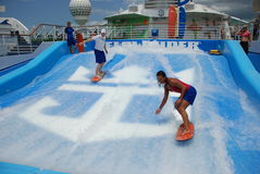 Flow rider. Picture taken of the flow rider the surfing imitator onboard of one of the Royal Caribbean Cruise lines ships Stock Photography