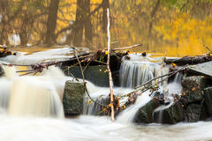 Flow of river water through stones at autumn, long exposure Royalty Free Stock Photography