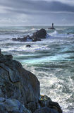 Flow and tide. Wild stormy coasline before storm, high density range image stock photography