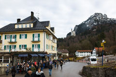 Flow of tourists in Schwangau Stock Image