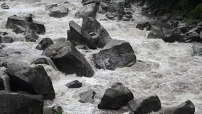 Flow of Urubamba Rive. Powerful waters of Urubamba river in Peru after heavy tropical rains, steady footage with original sound stock video