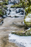 Flow of water in the spring of icicles and ice Royalty Free Stock Photos
