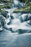 Flow of water in the spring of icicles and ice Stock Image