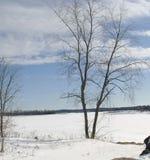 Flowage hydro-électrique de l'hiver Images stock