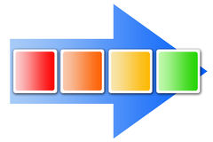 Flowchart. Graphical flowchart with copyspace in the colorful process frames Stock Photo