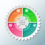 Gear wheel pie chart with 4 spokes. Flowchart with options for presentations, advertising, process steps, websites royalty free illustration