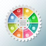 Gear wheel pie chart with 8 spokes. Flowchart with options for presentations, advertising, process steps, websites vector illustration
