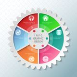 Gear wheel pie chart with 6 spokes. Flowchart with options for presentations, advertising, process steps, websites vector illustration