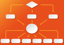 Flowchart Orange Background Stock Photo