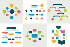 Flowcharts. Set of 6 flow charts schemes, diagrams. Simply color editable. Royalty Free Stock Photos