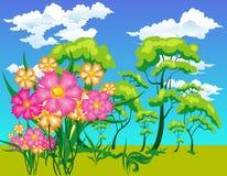 flowe δέντρα τοπίων απεικόνιση αποθεμάτων