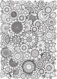 Flowe in bianco e nero di estate isolato su bianco Fondo astratto di scarabocchio fatto dei fiori e della farfalla Pagina di colo Immagine Stock