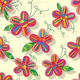 Flowe color inside line seamless pattern royalty free illustration