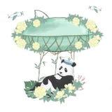 Flowe för djurt för illustration för teckning för pandagemkonst digital gulligt djurt för hälsning för födelsedag för beröm för k vektor illustrationer