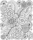 Flowe preto e branco do verão isolado no branco Fundo abstrato da garatuja feito das flores e da borboleta Página da coloração do Fotos de Stock Royalty Free