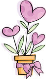Flower. Vector valentine background with hearts Stock Images