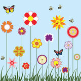 Flower. Happy flower with butterfly and bee stock illustration